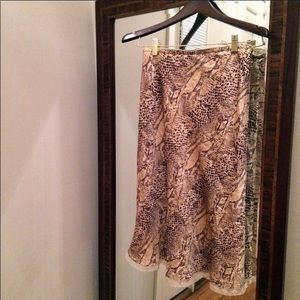 Anthropologie Silk Animal Print Midi Skirt